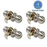 Satin Nickel Combo Entry Door Handles Keyed Alike, Entrance Door Knobs for Exterior Door Keyed Entry Door Knob Set, Easy to Install, Contractor Pack of 4