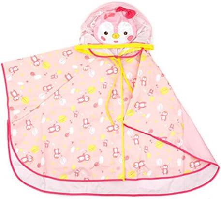 防水 キッズレインコート 子供ベビーフード付きポンチョ緑の帽子を着用レインコートピンクペンギン柄レインコート 梅雨対策 アウトドア