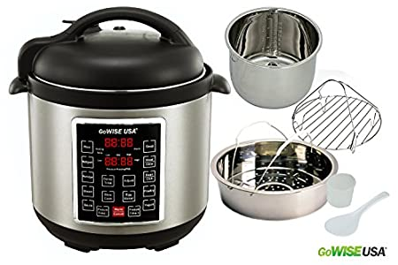 GoWISE USA GW22623 1300W  4th-Generation Electric Pressure Cooker with Steam Rack and Basket, 8 quart, Black/Silver