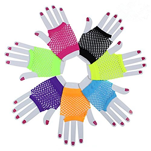 7 Pairs Stretchy Fingerless Fishnet Gloves for Parties, Assorted Brighted Color ()