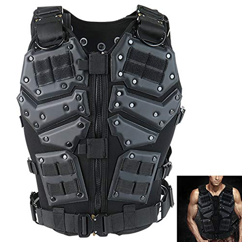 ActionUnion Airsoft Tactical Vest Military Costume Molle Chest Protectors Gilet Paintball Vest CS Field Outdoor Modular Combat Training Adults Men Special Forces Adjustable EVA
