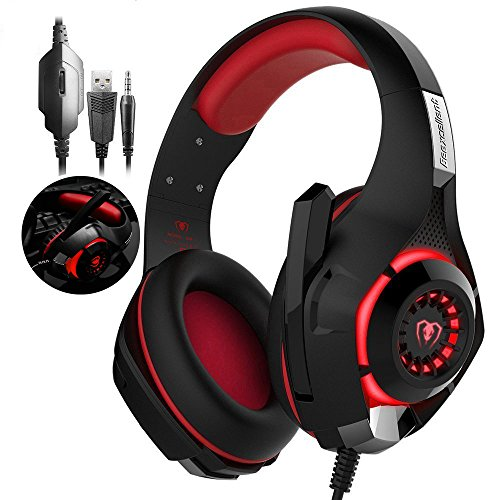 Gaming Headset, RedHoney Stereo PS4 LED Gaming Headphone With Microphone for PS4 PSP Xbox one PC Tablet iPhone iPad Samsung Smartphone (Red)
