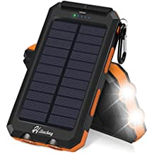 Solar Charger, Hiluckey Solar Power Bank 10000mAh Waterproof / Shockproof Portable External Battery Pack with Dual USB for Camping, Travelling and other Outdoor Activities