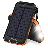 Solar Charger, Hiluckey 10000mAh Waterproof Solar Power Bank Dual USB Portable External Battery Pack Compatible with iPhone, Samsung Galaxy and More