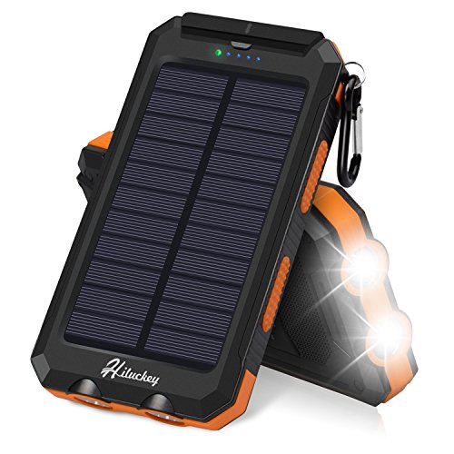 - Solar Charger, Hiluckey Solar Power Bank 10000mAh Waterproof Portable External Battery Pack with Dual USB for iPhone, iPad, GPS and Others