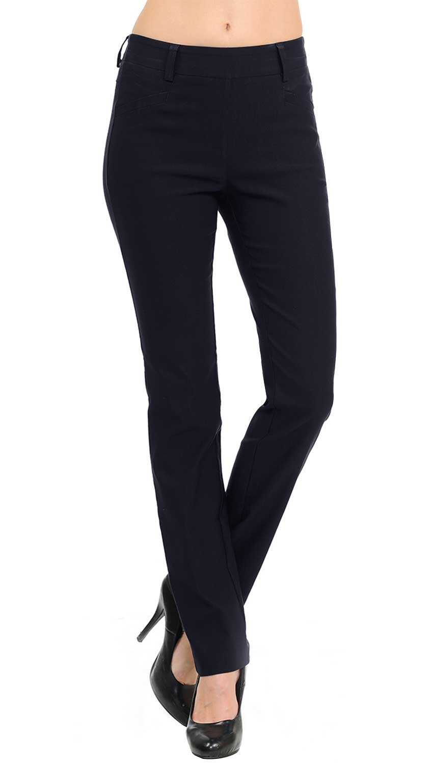 VIV Collection New Straight Fit Long Trouser Pants (Medium - 30'' Inseam, Navy)