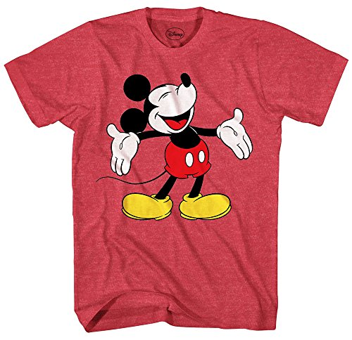 Disney Mickey Mouse Laughing Disneyland World Funny Humor Pun Mens Adult Graphic Tee T-Shirt (Heather Red, XXX-Large) ()