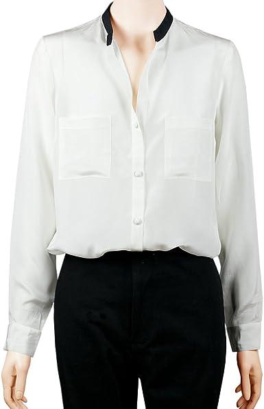 Sinologie - Camisas - cuello mao - para mujer blanco L: Amazon.es: Ropa y accesorios