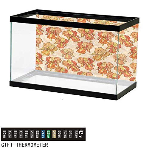 "bybyhome Fish Tank Backdrop Floral,Iris Flower Petals Blooming,Aquarium Background,60"" L X 24"" H(152x61cm) Thermometer Sticker"