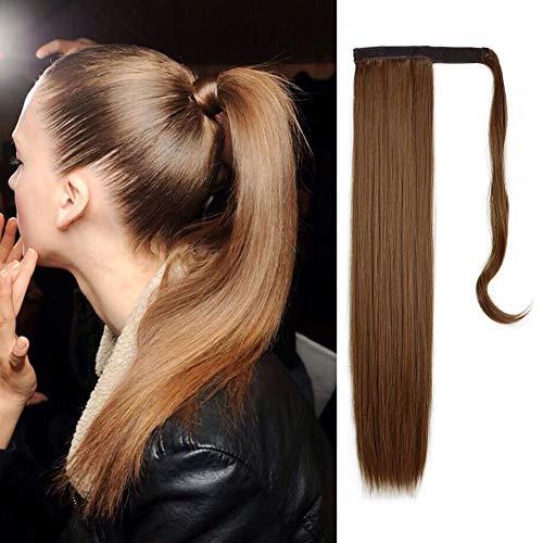 FESHFEN Cola de Caballo Extensiones Postizos de pelo fibras sinteticas de cabello pelo liso largo 61cm, 125g