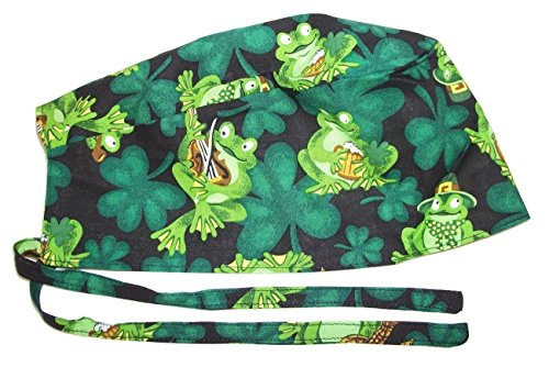 Scrub Hat Irish St Patrick Frogs Cotton Fabric Nurse Cap ER Do-Rag Skull