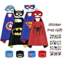 4 Pack Superhero Capes and Mask with Slap Bracelets and Sticker