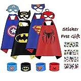 Hongjin0315 Superhero Capes and Mask, 4 Pack Cartoon Satin Capes Set with Slap Bracelets and Sticker for Kids Boys