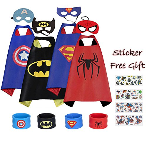 WheatleyIKV Superhero Capes and Mask, 4 Pack Cartoon Satin Capes Set with Slap Bracelets and Sticker for Kids Boys -