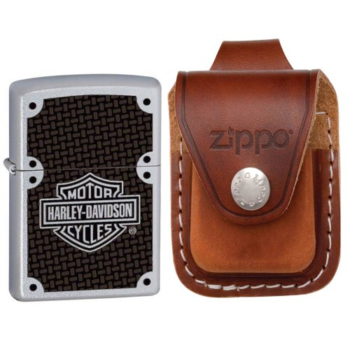 Zippo 24025-HD Harley Davidson Satin Chrome Windproof Lighter with Zippo Brown Leather Loop Pouch (Leather Lighter Pouch Zippo Brown)