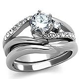 1.19 Ct Round Cut Cubic Zirconia Stainless Steel Wedding Ring Set Women's Size 10
