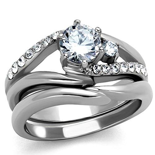 1.19 Ct Round Cut Cubic Zirconia Stainless Steel Wedding Ring Set Womens Sz 5-10