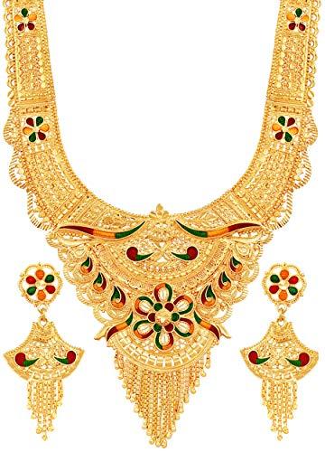 Mansiyaorange One Gram Gold Pure Forming Long Rani Haar Jewellery/Jwelery/jwellery/jualry Necklace Set for Women for Women