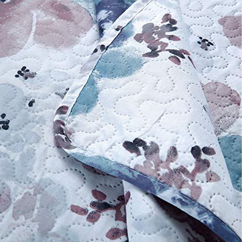 Pink Blue Floral Quilt Set Full/Queen Size Flower Bedding Set Lightweight Summer Bedspread Coverlet with Sham for Kids Teens Adults (1 Quilt+2 Pillow Sham)