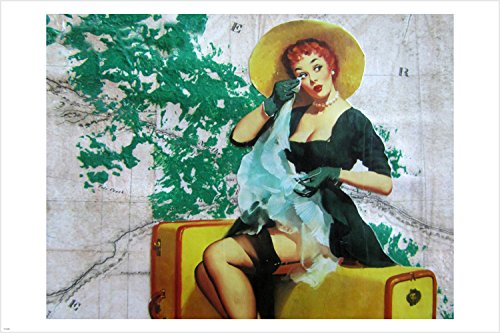 vintage SEXY pin-up girl TEARY GOODBYE poster 24X36 SUITCASE