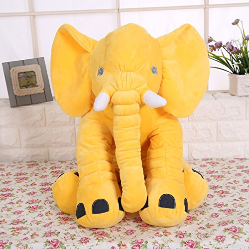 KiKi Monkey 24 inch Large Elephant Pillow Toys Baby Toddler Kids (yellow
