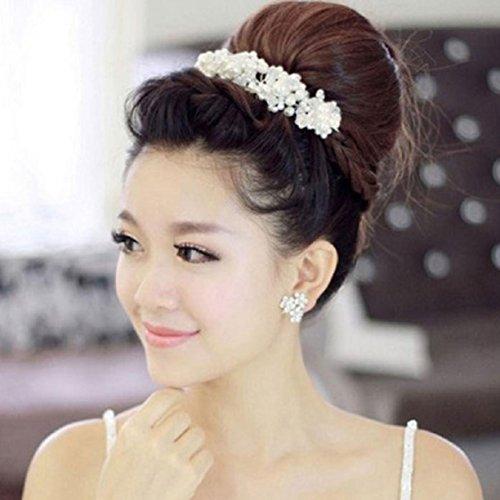 Amazon.com: Han Shi New Luxury White Pearl Beautiful Crystal Bride Headdress Headwear by Wedding Dress Accessories: Arts, Crafts & Sewing