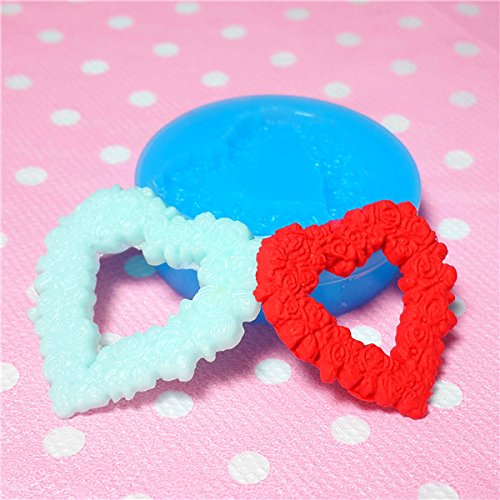 004LBH Heart Shaped Flower / Rose Cameo Silicone Flexible Push Mold Jewelry Charms Cupcake (Clay, Fimo, Resins, Epoxy, Fondant)