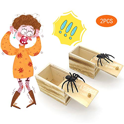BIGPANDA 2PCS Spider Prank Box Wooden Box Plastic Spider Halloween Trick or Treat Party Gifts Children