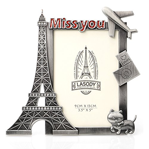 (QTMY Metal Eiffel Tower Miss You Picture Frames Office Desk Ornaments (Eiffel Tower))