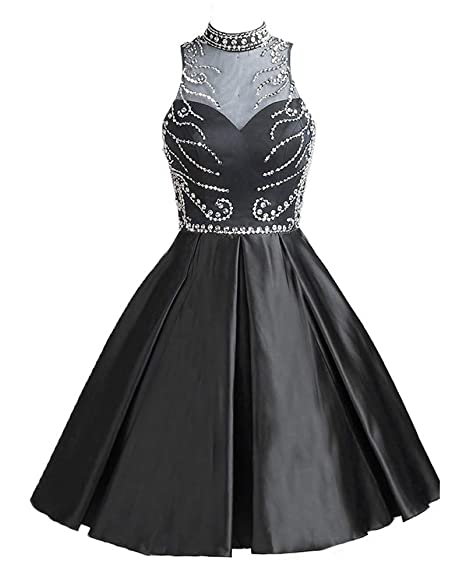 Halter Beading Homecoming Dresses Satin