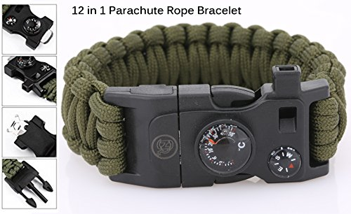 SnR-Star-Best-Paracord-Bracelet-Outdoor-500-LB-Compass-Thermometer-Whistle-Screwdriver-Scrapper-WrenchBottle-OpenerOutdoor-Hiking-Travelling-Camping-Gear-Kit-12-in-1-Parachute-Rope-Bracelet