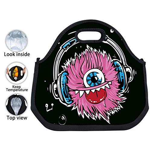 JiJiYing Monster Headphones Large Capacity Waterproof And Insulated Lunch Bag With Zipper Is Easy To Carry Lunch Tote Boxes for Women, Girls, Kids