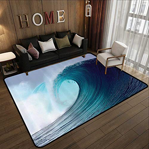(Rugs,Ocean Decor Collection,Tropical Surfing Wave on a Windy Sea Indonesia Sumatra Picture Print,Blue Aqua White 78.7