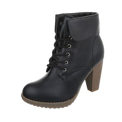 Ital-Design High Heel Stiefeletten Damen-Schuhe Schlupfstiefel Pump High  Heels Schnürsenkel Stiefeletten Schwarz da2110e1d7