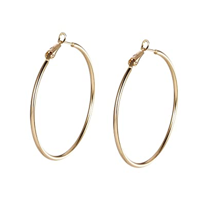 Rose Gold Hoop Earrings Sleeper Big Round Silver Black Color Womens Gift