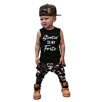 deafa589 Amazon.com : 2018 Summer Fashion Kids Boy Letter Vest Tops+Camouflage Pants  Outfits Clothes Set (12M, Black) : Baby