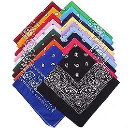 FIGHTART 100% Cotton Bandanas Print Head Wrap Scarf Wristband Paisley Cowboy Party Headbands for Women