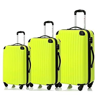 Merax Travelhouse 3 Piece Spinner Luggage Set TSA Lock (Yellowish Green & Black)