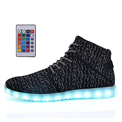 DEMANGO Led Light Up Shoes for Mens Womens High Top Flashing Rechargeable Sneakers