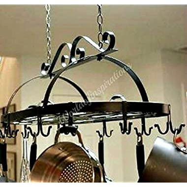 Iron Hanging Pot Holder Pan Hanger Kitchen Storage Utility Cookware Hook Rack