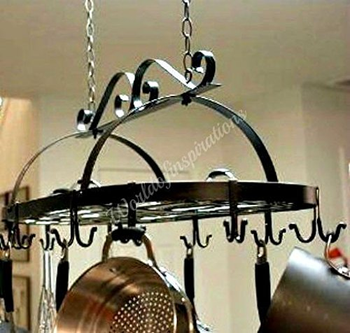 - Iron Hanging Pot Holder Pan Hanger Kitchen Storage Utility Cookware Hook Rack