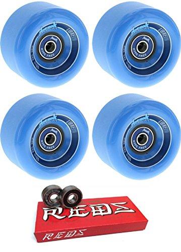 そして敵意段階69 mm Kebbek Skateboards Libre Longboard Skateboard Wheels with Bones Bearings – 8 mmスケートボードベアリングBones Super Redsスケート定格 – 2アイテムのバンドル