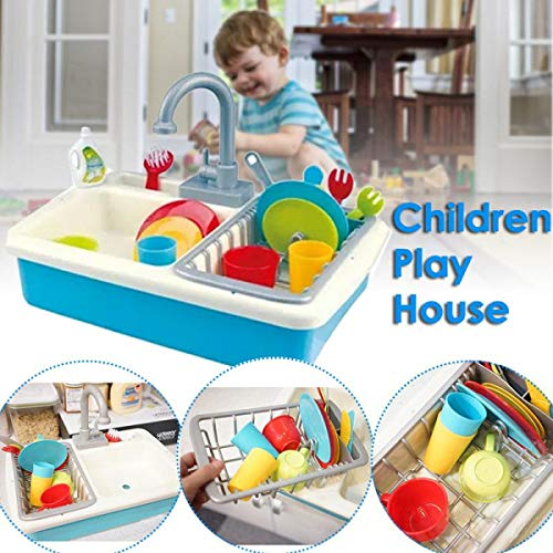 Price comparison product image WEEKEND SHOP Pretend Play Toys 20PCS Kitchen Tableware Doll Accessories Play House Water Toy Small Kitchen Cutlery Cleaning Kit Toy for Kids