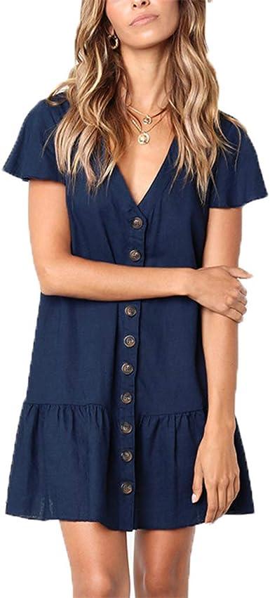 Vestidos para Mujeres, Vestidos Casual Mujer Vestidos de Cóctel Vestido de Manga Corta de Algodón Vestidos Fiesta Vestidos Playa (XL, Azul): Amazon.es: Ropa y accesorios