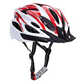 Bormart Adult Cycling Bike Helmet,Lightweight Adjustable Bicycle Helmet Specialized for Men Women Mountain Bicycle Road Safety Protection (red+white)