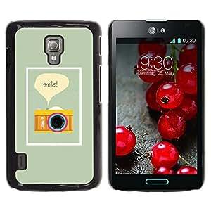 TopCaseStore / la caja del caucho duro de la cubierta de protección de la piel - Text Photo Photographer Yellow - LG Optimus L7 II P710 / L7X P714