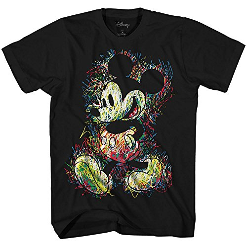 Disney Mickey Mouse Scribbles Disneyland World Tee Funny Humor Adult Mens Graphic T-Shirt Apparel (Black, Large)