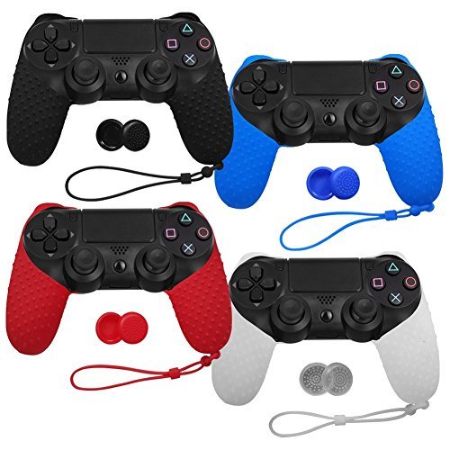 XFUNY Pack of 4 Color Controller Anti-Slip Silicone Protective Half Cover Case Skin Protector with Thumb Grip Cap Cover and Hand Strap for PlayStation 4 Gaming Controller