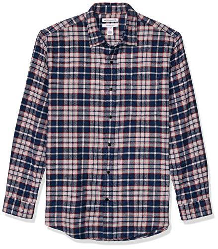 Amazon Essentials Men's Gray Regular-Fit Long-Sleeve Plaid Flannel Shirt, Heather Grey/Navy, Large