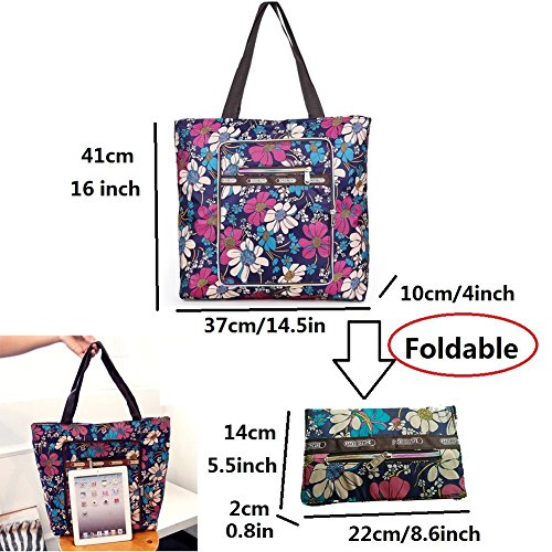 Tribe Purse Large Tote Flowers Blue Casual Women Foldable Shopper AlleGt Handle Shoulder Capacity Top Rope Travel TxwX1Hnqp